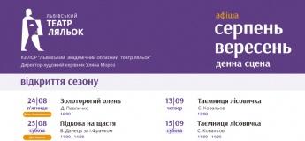 Афіша львівського театру ляльок у серпні-вересні