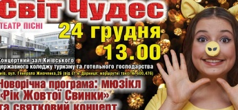 """Мюзикл """"Рік Жовтої Свинки"""" та святковий концерт Театру пісні """"Світ чудес""""."""
